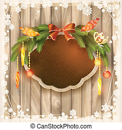 Christmas frame board, garland, ornaments, birds
