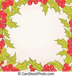 Christmas frame border with mistletoe holly berry