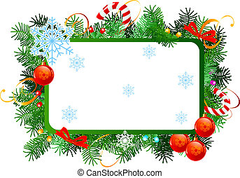Christmas frame - Christmas vector frame with red Christmas...
