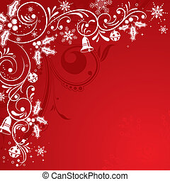 Christmas Frame with snowflakes and holly berry, element for...