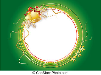 Frame with christmas bells and pine branches, vector illustration