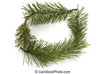 Christmas frame made of pine branches