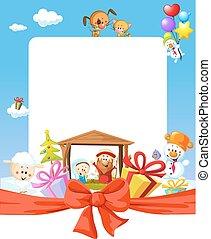 Christmas frame - nativity with jesus, maria and joseph - cartoon illustration