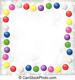 Christmas frame of color balls on blur gray background