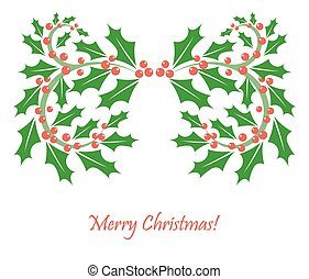 Christmas frame of holly berry