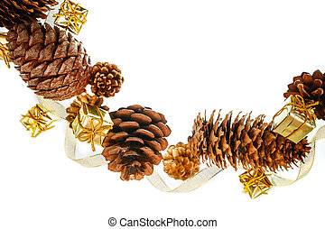 Christmas frame of pine cones and gift boxes on a white background place for text