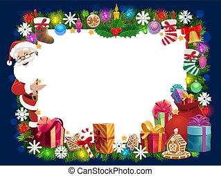 Christmas frame of Santa gifts, Xmas tree and bell