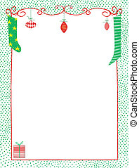 Christmas Frame of Whimsical Ornaments and Stockings