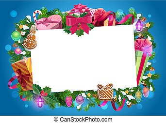 Christmas frame of Xmas gifts and presents