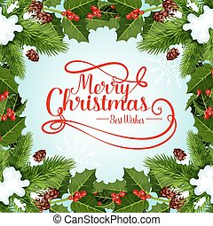 Christmas frame of Xmas tree for greeting card