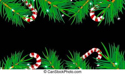 Christmas frame on black background. Abstract backdrop with brunch trees, candys and lights