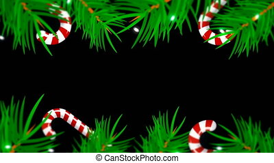 Christmas frame on black background. Abstract backdrop with...
