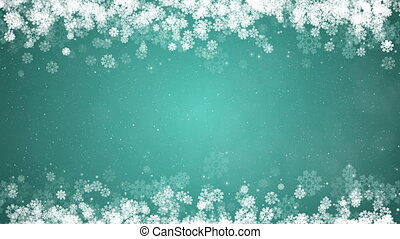 Christmas Frame on Green Background. Abstract Winter Card with Glowing Snowflakes, Stars and Snow.