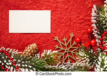 Christmas frame on red