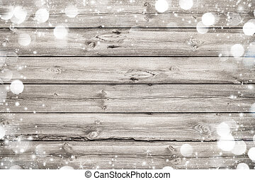 Christmas frame on wooden background