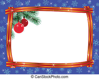 christmas frame ribbon fir branches ball