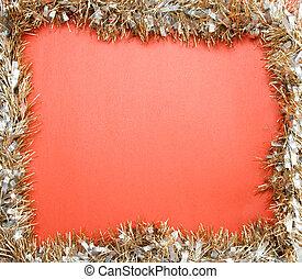 Christmas frame - A shot of christmas frame on a red...