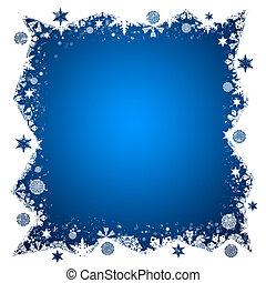 Christmas frame. White and blue snowflakes. White background