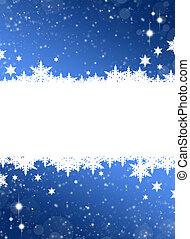 Christmas frame. White snowflakes on a blue background