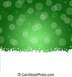 Christmas frame. White snowflakes on a green background