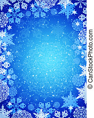 Christmas frame. White snowflakes on the blue background