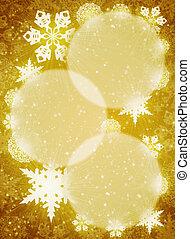 Christmas frame. White snowflakes on the yellow background