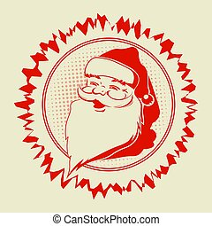 Christmas frame with a silhouette of Santa Claus.