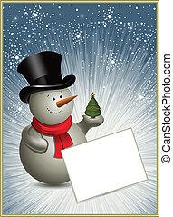 Christmas frame with a snowman