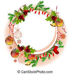 Christmas frame with balls and fir branches - Christmas ...