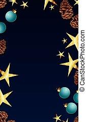 christmas frame with balls and stars