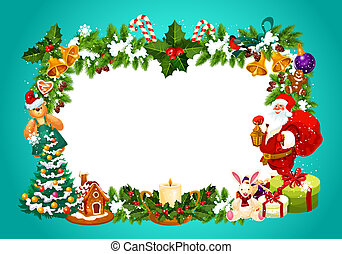 Christmas frame with blank space for greeting sign