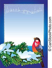 Christmas frame with bullfinch