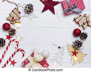 Christmas frame with candy and toys. Christmas candy, gift...