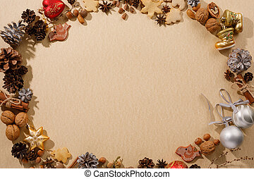 Christmas frame with copy space. Flat lay. Toys cones and New Year's decor. The concept of a festive mood.