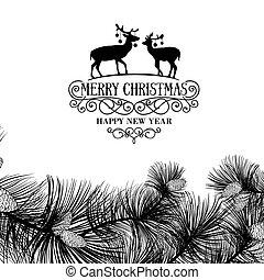 Christmas frame with deers