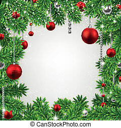 Christmas frame with fir branches and balls.