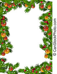 Christmas frame with fir branches and gold and red balls