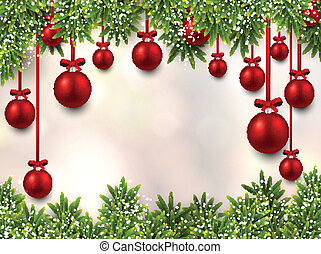 Christmas frame with fir branches. - Christmas illustration...