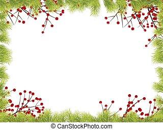 Christmas Frame with Fir Tree Branch Border