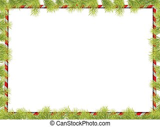 Christmas Frame with Fir Tree Branch Border