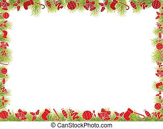 Christmas Frame with Fir Tree Branch Borderps