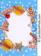christmas frame with gingerbread cookies and decorations