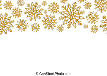 Christmas frame with gold snowflakes. Border of sequin confetti.