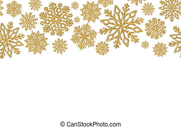 Christmas frame with gold snowflakes. Border of sequin...