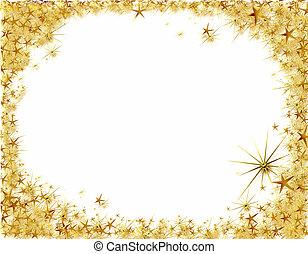 Christmas frame with golden stars