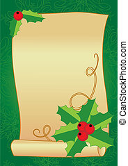 Christmas frame with holly, berries and vintage scroll on a textured background
