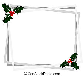 Christmas frame with holly berry. Vector illustration
