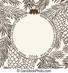 Christmas frame with pinecone