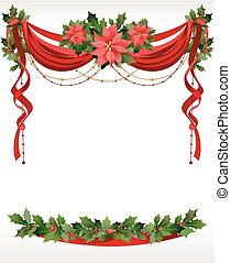Christmas frame with pointsettia