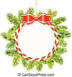 Christmas frame with red bow and fir tree branches